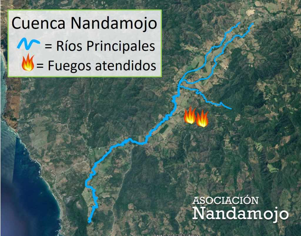 A map of the fires extinguished by the Nandamojo fire brigade yesterday, February 9.
